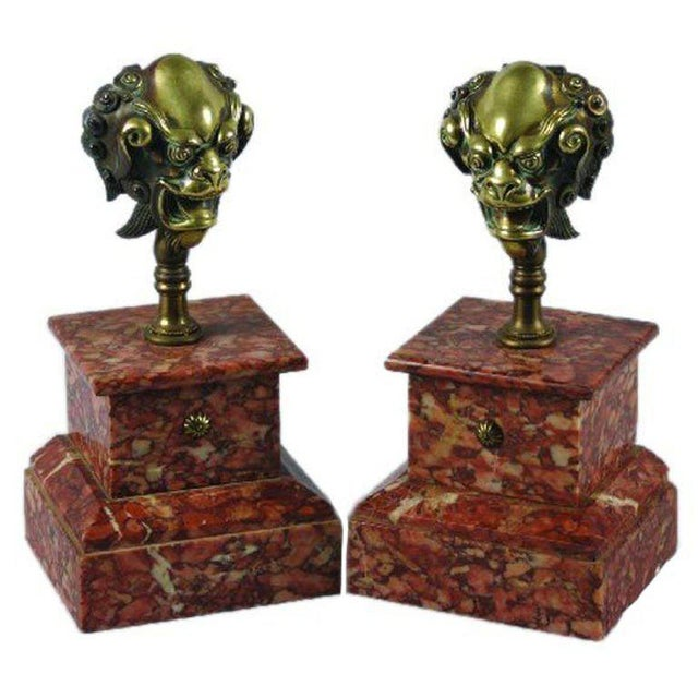 Asian One Pair of 18th Century Bronze Mounts on Rouge Marble Bases For Sale - Image 3 of 3