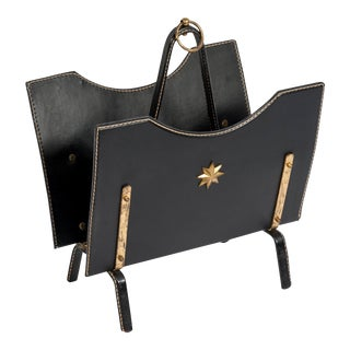 Stitched Leather Book Rack by Jacques Adnet For Sale