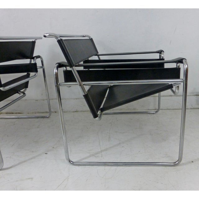 Marcel Breuer Black Leather Chrome Wassily Chairs - A Pair - Image 6 of 10