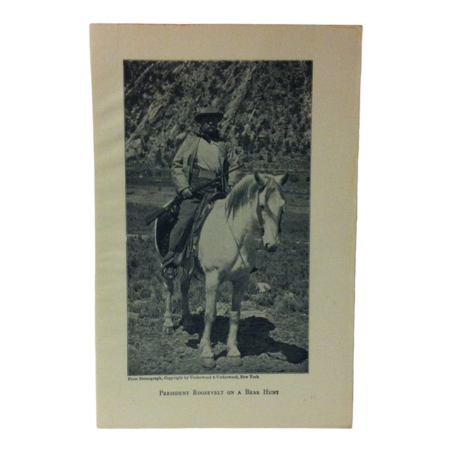 """1919 """"President Roosevelt on a Bear Hunt"""" Theodore Roosevelt Print on Paper For Sale"""
