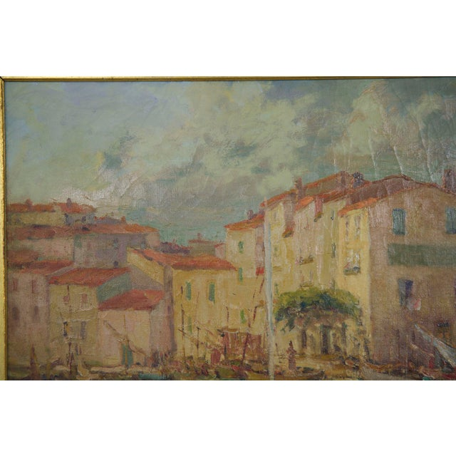 Early 20th Century French Impressionism Antique Oil Painting of Fishing Harbor by Paul Balmigere For Sale - Image 5 of 13