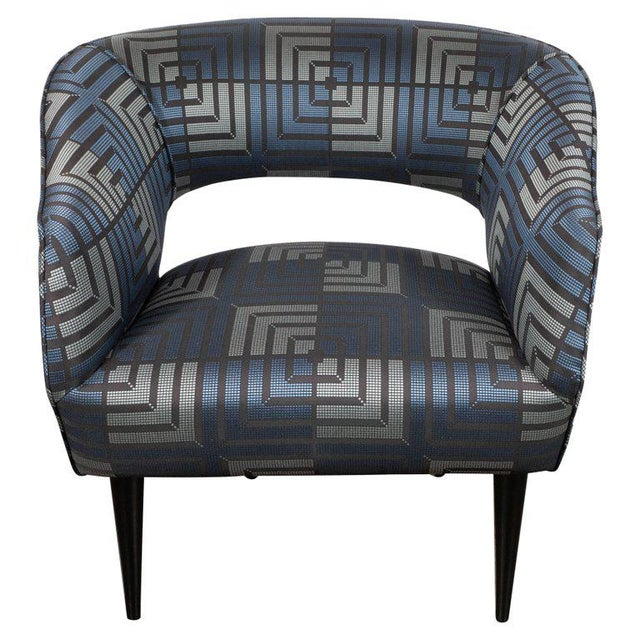 Blue Mid-Century Modern Club Chair in Sapphire & Platinum Fabric With Ebonized Walnut For Sale - Image 8 of 8