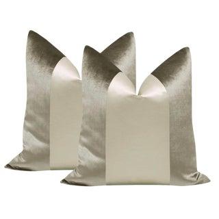 "22"" Chrome Velvet & Silk Panel Pillows - a Pair For Sale"