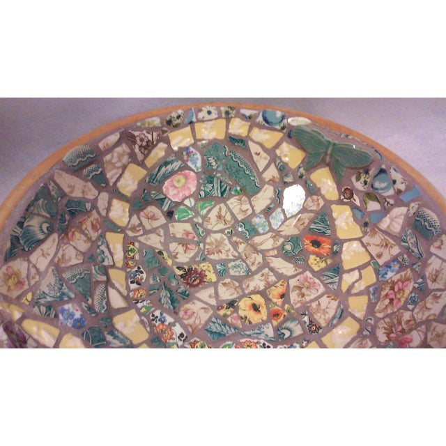 Hand Crafted Mosaic Footed Oval Bowl - Image 4 of 7