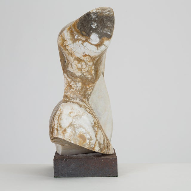 Gray Abstract Torso Sculpture on Stone Mount For Sale - Image 8 of 12