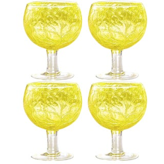 Cabbage Handblown Yellow Goblets- Set of Four For Sale