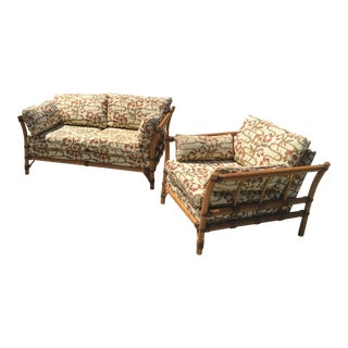 Bamboo Sofa and Chair - a Pair For Sale