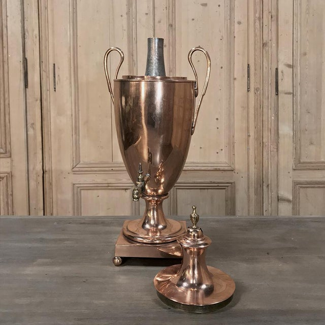 Neoclassical 19th Century Copper & Brass Tea Server For Sale - Image 3 of 11