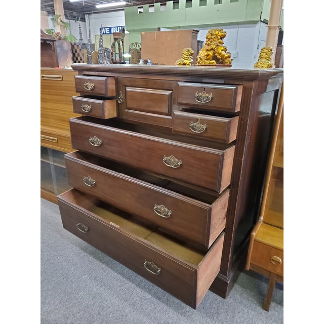 19th Century Antique Mahogany Chest Of Drawers For Sale In Houston - Image 6 of 12