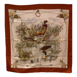 Highly Collectible Vintage Gucci Scarf 1990's Wild Birds For Sale