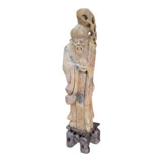 Vintage Marble Asian Man Sculpture