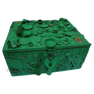 Folk Art Cigar Box With Trinket Assemblage For Sale