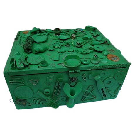 Vintage Green Cigar Memory Box With Trinkets For Sale