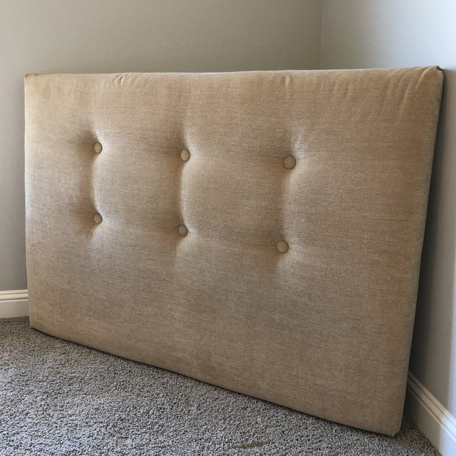 Beautifully made Ballard Headboard in COM of a gold chenille. $635 on the site with comparable fabric. The fabric is clean...