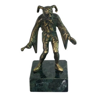 Antique Bronze Court Jester Harlequin on Marble Stand For Sale