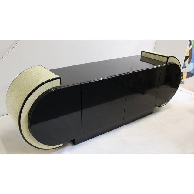 Pierre Cardin Style Black Modern Four-Door Buffet - Image 4 of 10