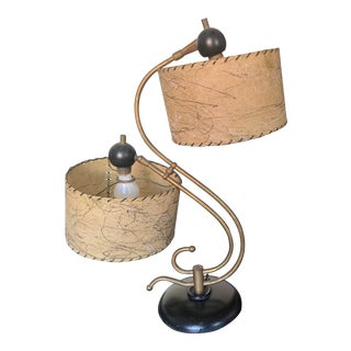 Vintage 1950s 1960s Mid Century Table Lamp Black Gold Rawhide Shades For Sale