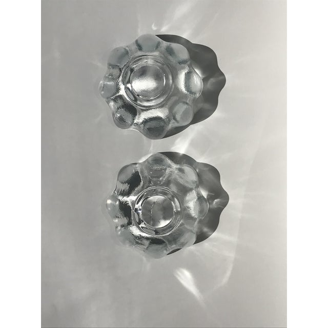 Abstract Blenko Crystal Clear American Art Glass Lotus Bowls - A Pair For Sale - Image 3 of 6