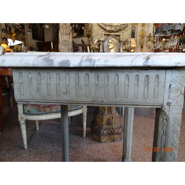 White Pair of French Marble Top Consoles For Sale - Image 8 of 11