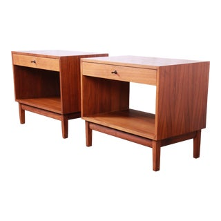 Kipp Stewart for Calvin Furniture Mid-Century Modern Walnut Nightstands, Pair For Sale