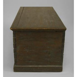 American Country (18/19th Cent) blue painted pine blanket chest/floor trunk For Sale - Image 4 of 8