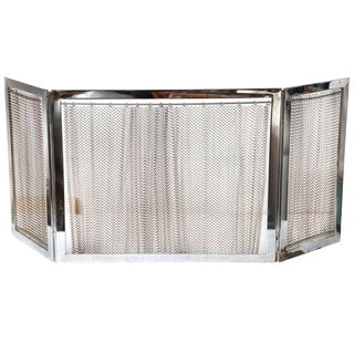 Chrome and Metal Fireplace Screen For Sale