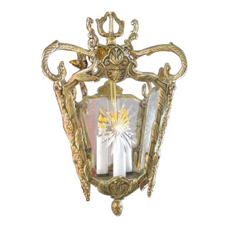 1940s Traditional Style Brass Lantern Chandelier For Sale
