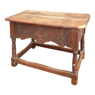 Antique William & Mary Style Wood Bench With Storage Space by Cochran Chair Co. - Early 1900's For Sale