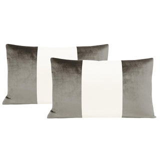 "12""x18"" Quartz Velvet & Alabaster Silk Panel Lumbar Pillows - a Pair For Sale"