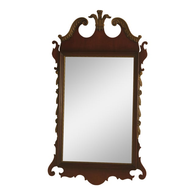 Kindel Vintage Mahogany Chippendale Wall Mirror For Sale