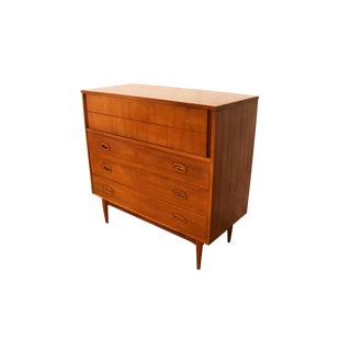 Mid Century Highboy Tall Walnut Dresser by Dixie Furniture For Sale