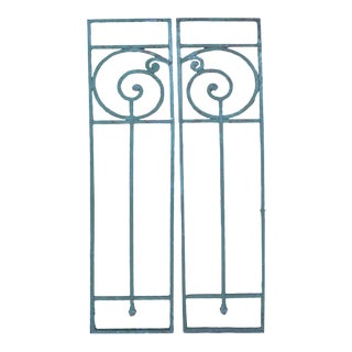 Antique French Art Deco Iron Grilles, Pair For Sale