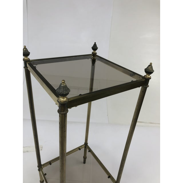 Mid Century Brass Two Tier Glass Side Table For Sale - Image 10 of 13