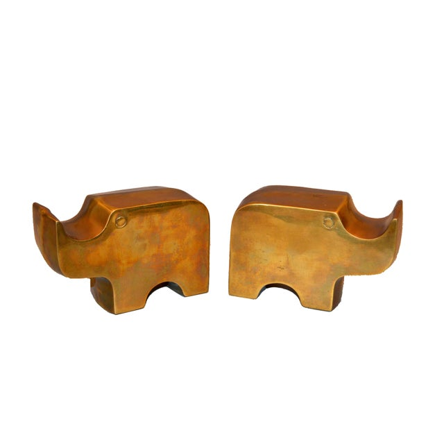 Mid-Century Modern Mid-Century Modern Bronze Rhinoceros Bookends in the Manner of Fratelli Mannelli For Sale - Image 3 of 11