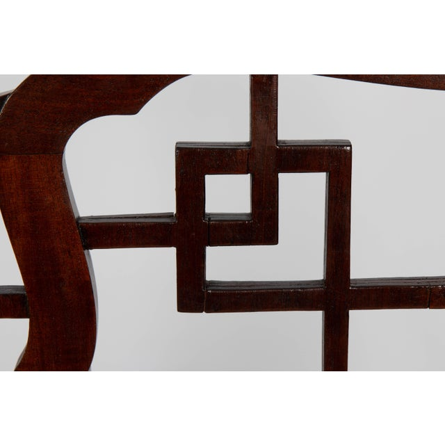 Brown English Chinese Chippendale Mahogany Settee For Sale - Image 8 of 9