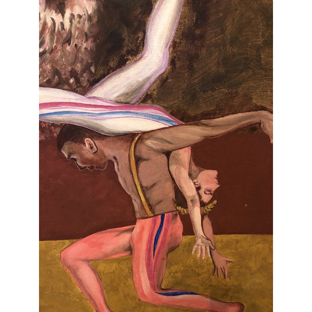 """Expressionism 1990s """"Dancers with Hawk"""" Surrealist Style Figurative Painting, Framed For Sale - Image 3 of 8"""
