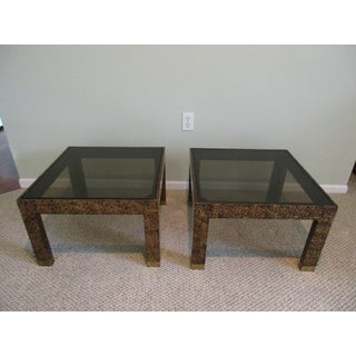 1980s Vintage Henredon Faux Tortoise Shell Side Tables -A Pair Preview