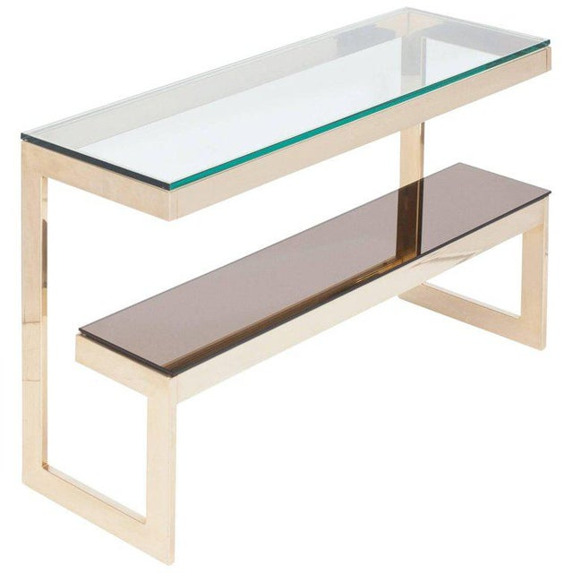 Gold Layered G Two-Tier Console Table For Sale - Image 9 of 9