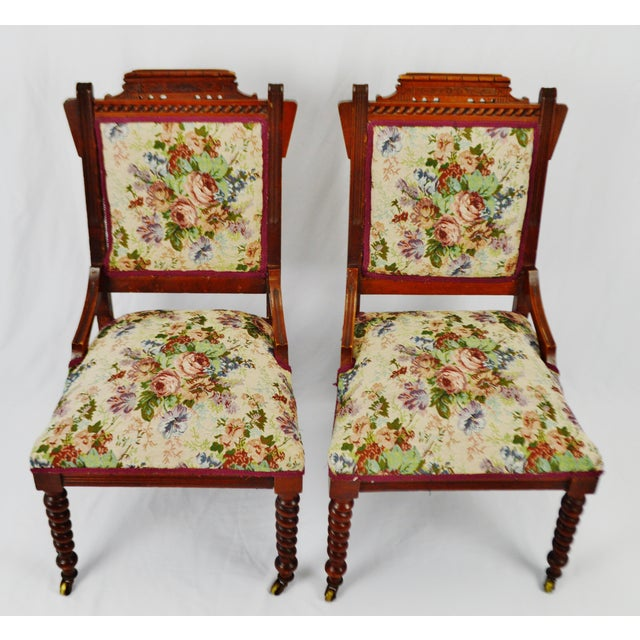 Late 19th Century Victorian Eastlake Side Chairs - a Pair For Sale - Image 5 of 13