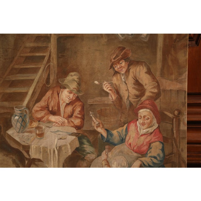 French Large 19th Century French Hand-Painted Canvas on Stretcher After David Teniers For Sale - Image 3 of 9