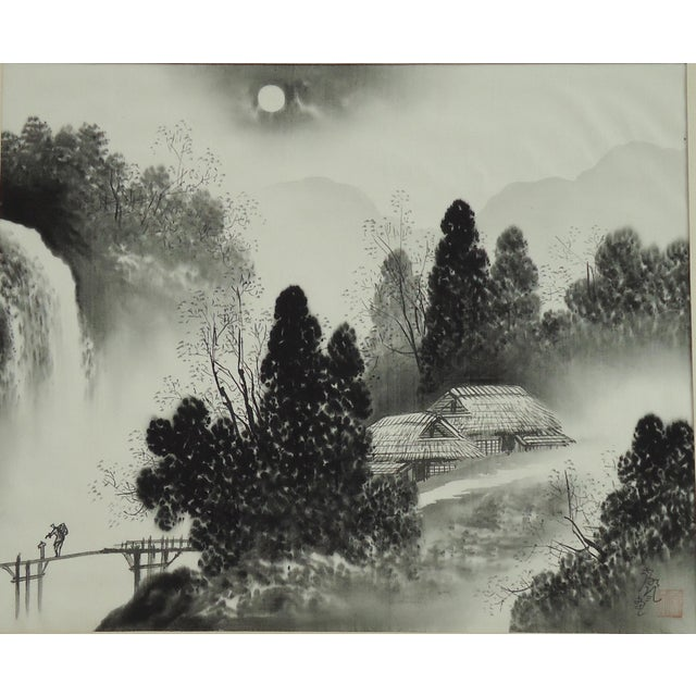 A vintage Japanese painting of a moonlit landscape on silk. Appears to be a WWII or mid century era painting made for the...