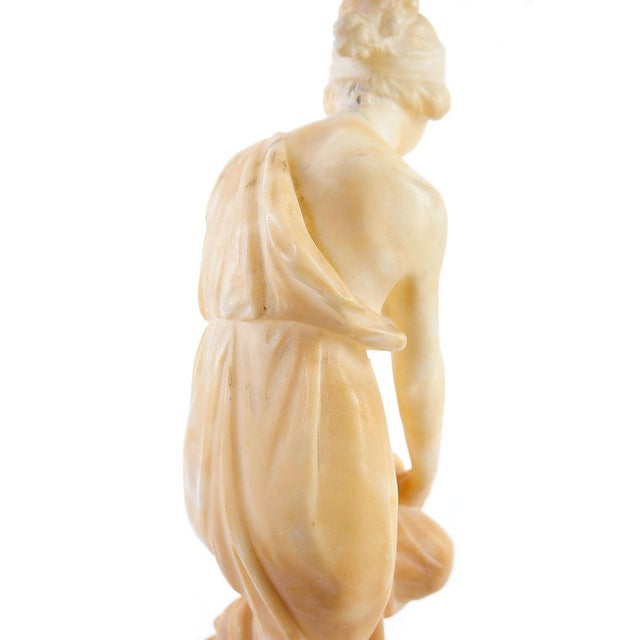 Sculpting Female With Birds Alabaster Sculpture For Sale - Image 7 of 9