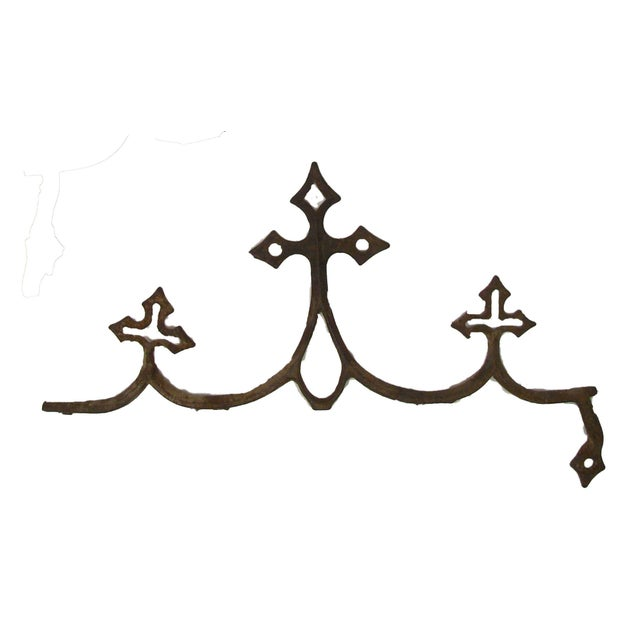 Lovely pair of old French iron architectural salvage pieces. Probably decoration from a roof ridge line (cresting) or from...