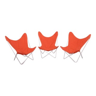 Set of Three Outdoor Early Jorge Ferrari-Hardoy Iron Butterfly Chairs for Knoll For Sale
