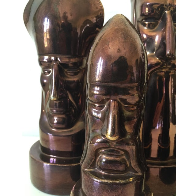 1940s 1940s Peter Ganine Metallic Copper-Colored Ceramic Chess Pieces - Set of 5 For Sale - Image 5 of 10