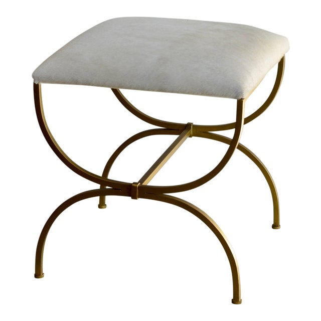"Contemporary Design Frères ""Strapontin"" Gilt Metal and White Hide Stool For Sale"