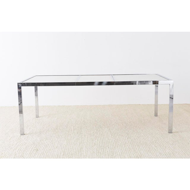 Milo Baughman Milo Baughman Chrome Cane Wicker Dining Table For Sale - Image 4 of 13