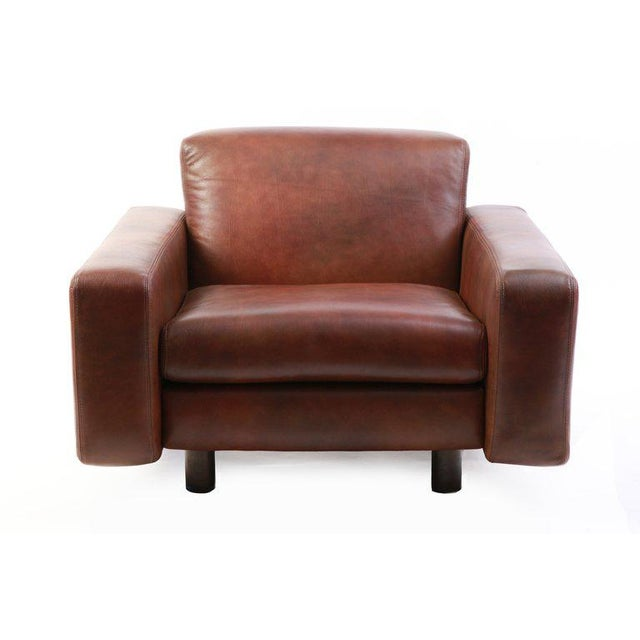 Metropolitan Furniture Metropolitan Leather and Bronze Lounge Chairs - Set of 4 For Sale - Image 4 of 7