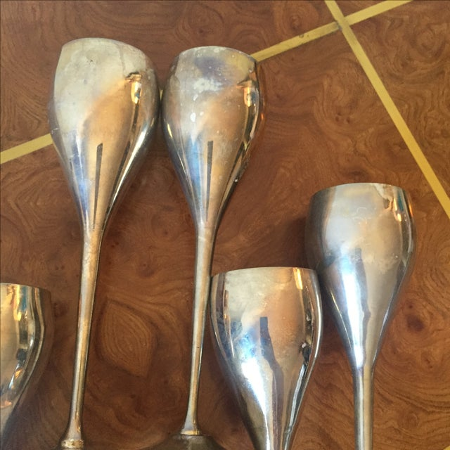 Silver Silver Plated Goblets Flutes Glasses - 8 For Sale - Image 8 of 9