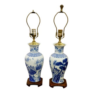 Blue & White Asian Lamps - A Pair For Sale